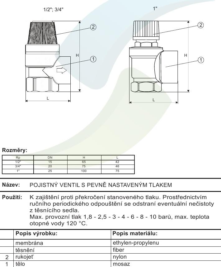 Pojistny Ventil 1 2 1 8 Bar Aquatopshop Voda Topeni Plyn