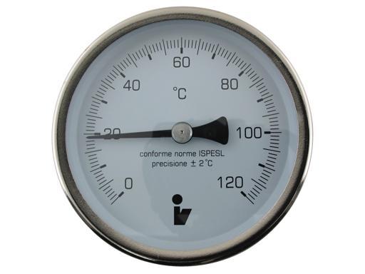 """Steno Teploměr bimetalový DN 100, 0-120°C, jímka 150mm, zadní připojení 1/2"""""""