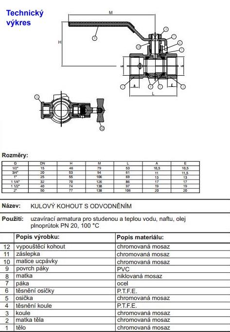 Kulovy Kohout S Odvodnenim Ff 6 4 Plnoprutok Pn 20 Aquatopshop