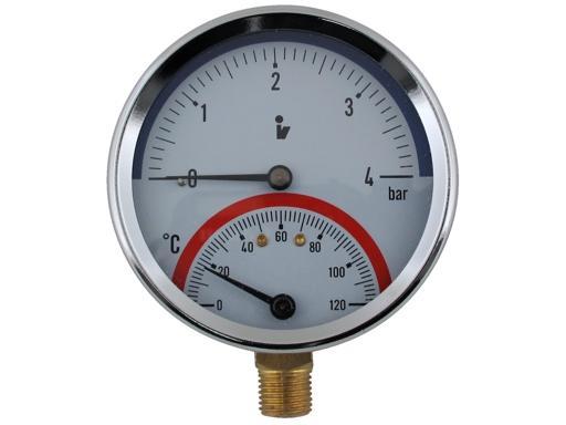 Termomanometr 0 4bar 0 120 C 1 2 Spodni Vyvod Aquatopshop Voda