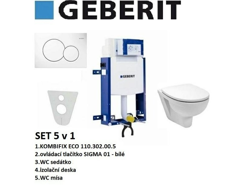 Geberit SET 5v1 GEBERIT KOMBIFIX ECO+SIGMA 01 bílá+sedátko SOFT CLOSE+WC mísa
