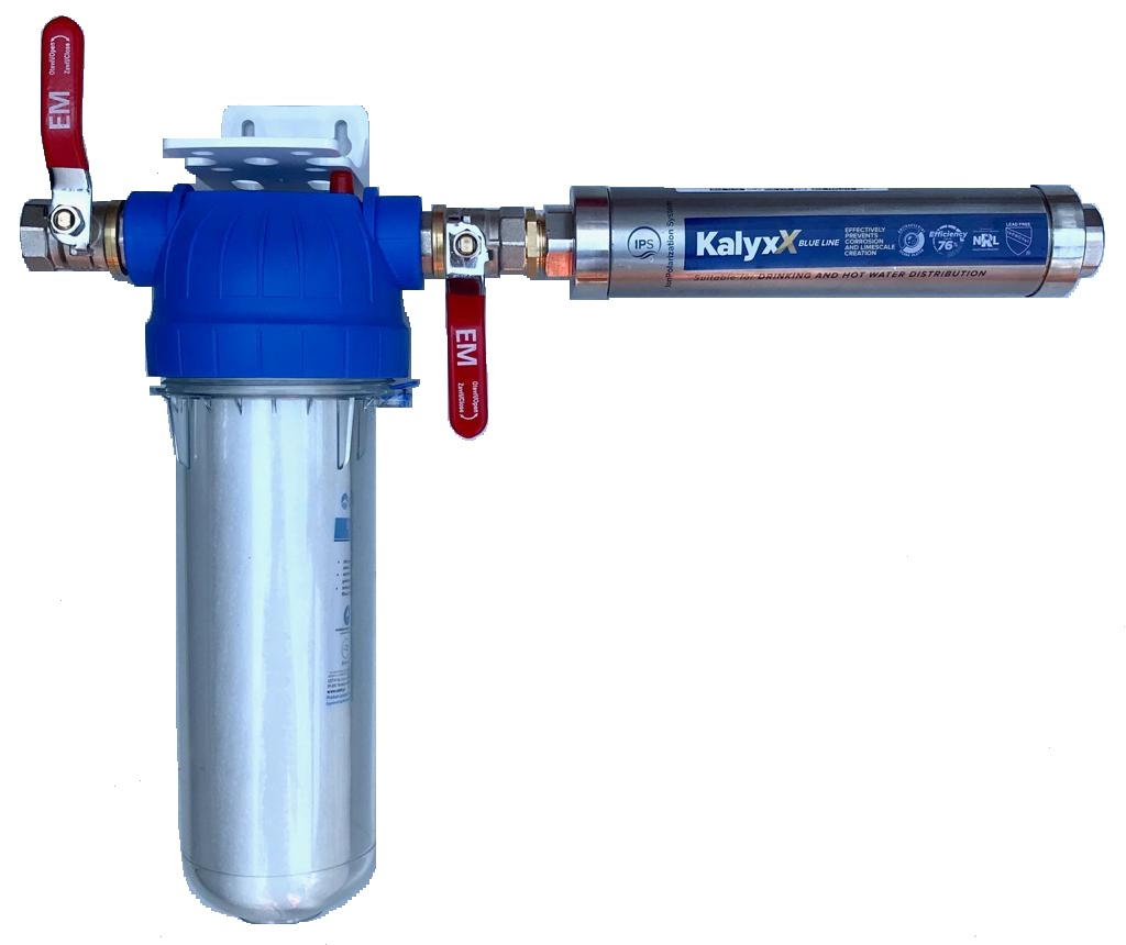 """Změkčovač vody IPS Kalyxx BlueLine IPSKXG12- G 1/2"""" s filtrem a kohouty - horizontální montáž"""