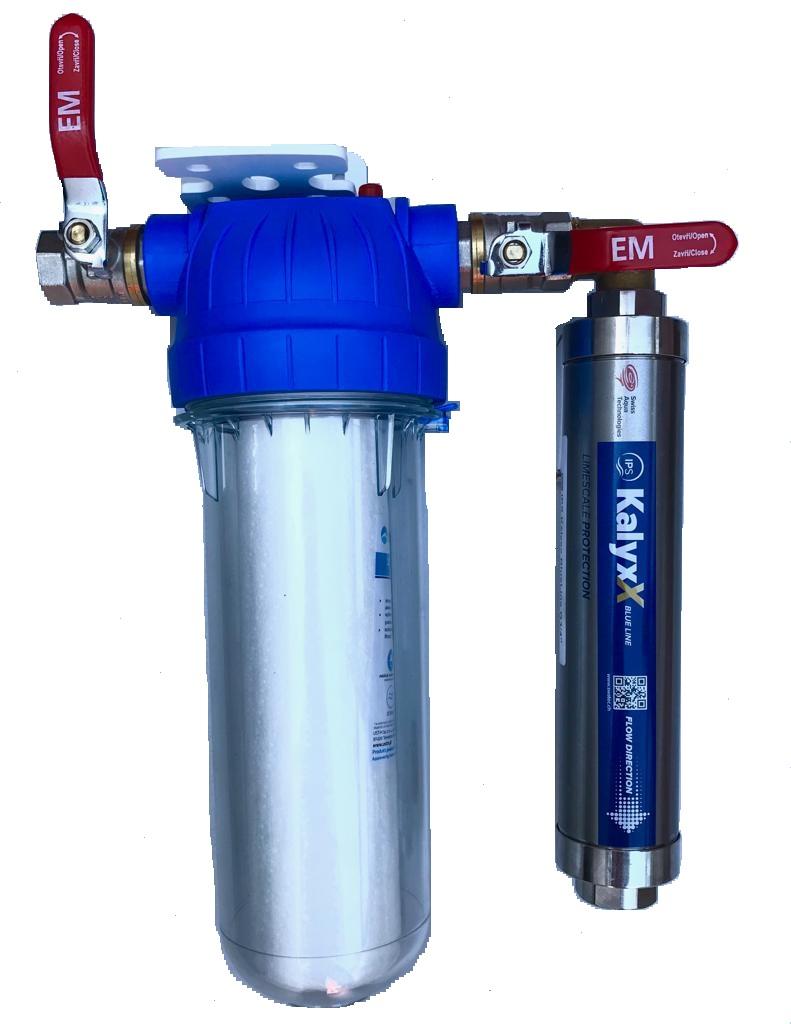 """Změkčovač vody IPS Kalyxx BlueLine IPSKXG1 - G 1"""" s filtrem a kohouty - vertikální montáž"""