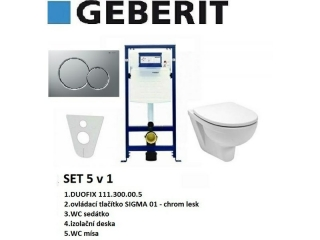 SET 5v1 GEBERIT DUOFIX+SIGMA 01 chrom lesk+sedátko SOFT CLOSE+WC mísa EUROLINE