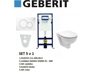 SET 5v1 GEBERIT DUOFIX+SIGMA 01 bílá+sedátko SOFT CLOSE+WC mísa EUROLINE