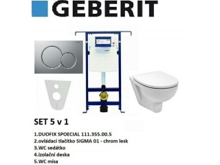 SET 5v1 GEBERIT DUOFIX SPECIAL+SIGMA 01 chrom lesk+sedátko SOFT CLOSE+WC mísa