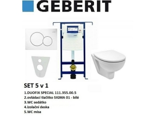 SET 5v1 GEBERIT DUOFIX SPECIAL+SIGMA 01 bílá+sedátko SOFT CLOSE+WC mísa