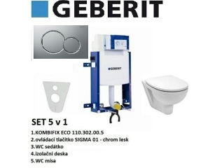 SET 5v1 GEBERIT KOMBIFIX ECO+SIGMA 01 chrom lesk+sedátko SOFT CLOSE+WC mísa