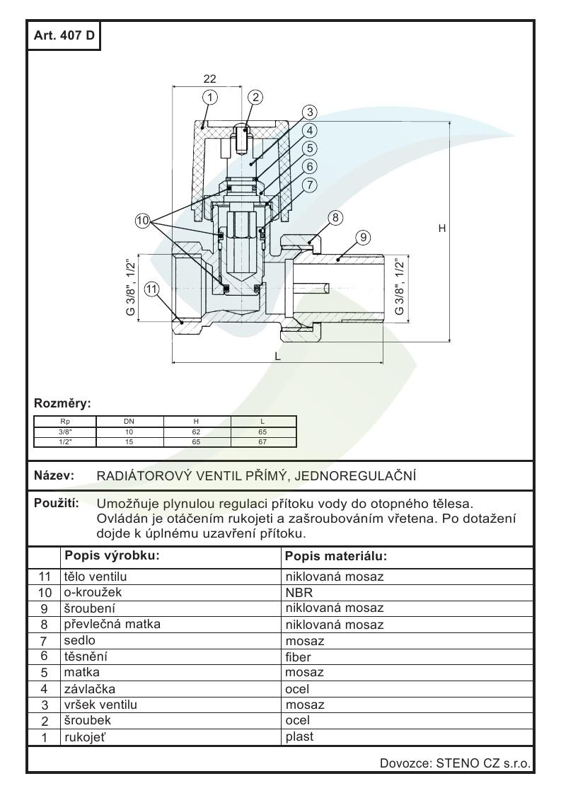 Radiatorovy Ventil Primy Jednoregulacni 1 2 Aquatopshop Voda