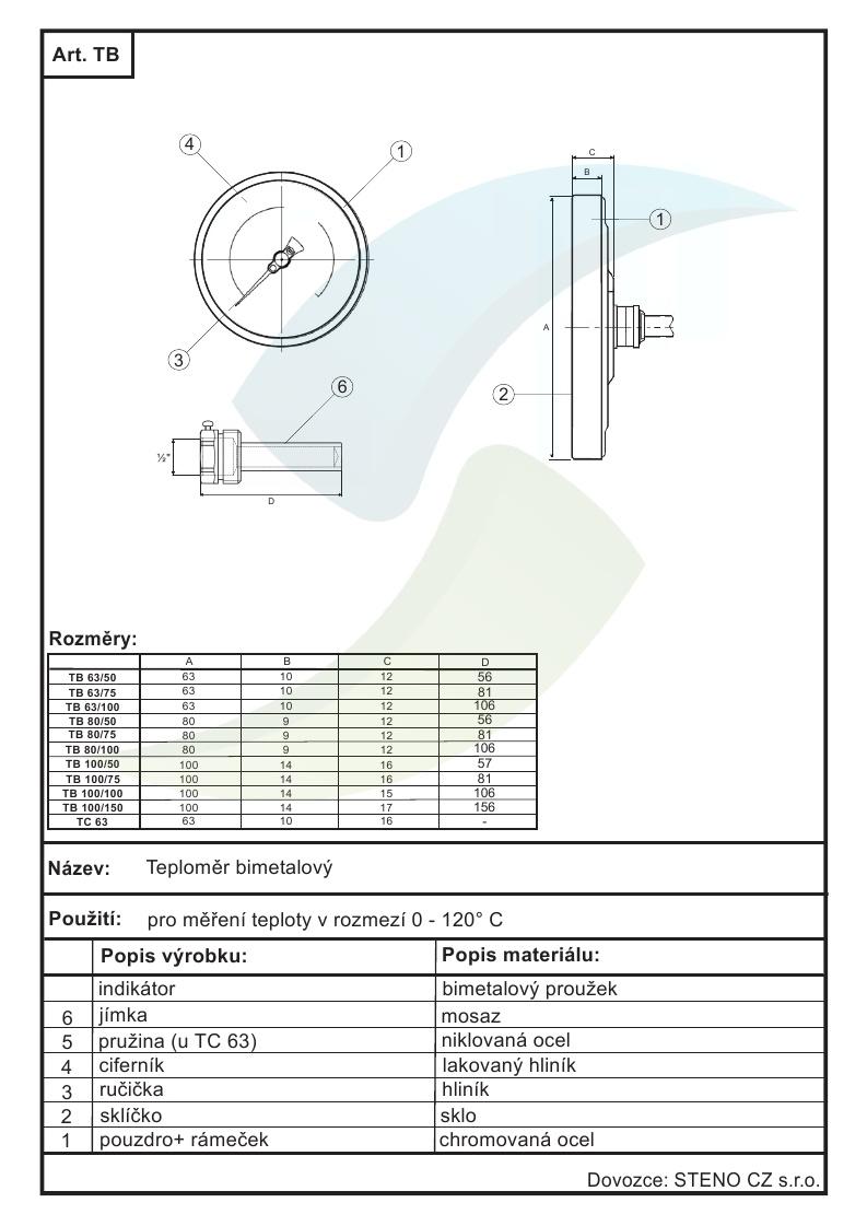 Teplomer Prilozny Bimetalovy Dn 63 0 120 C Aquatopshop Voda