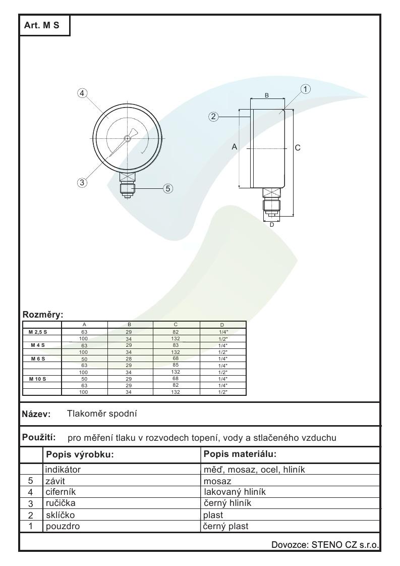 Tlakomer 0 6bar Dn100 1 2 Spodni Vyvod Aquatopshop Voda
