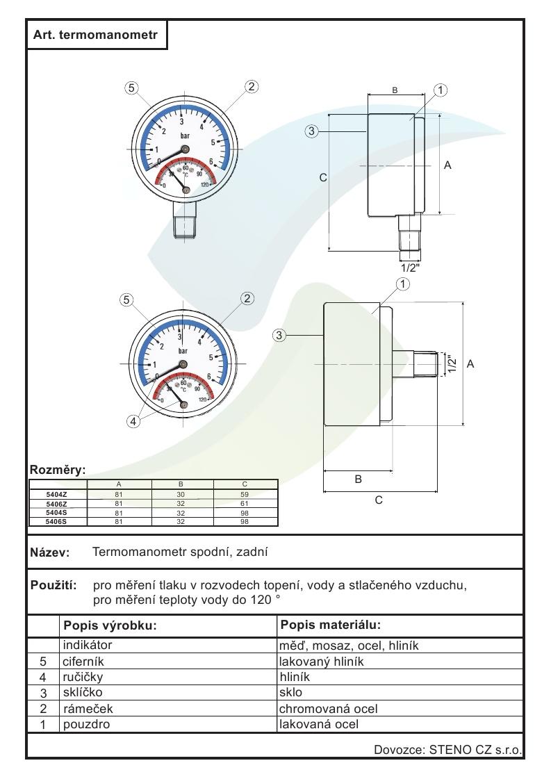 Termomanometr 0 6bar 0 120 C 1 2 Spodni Vyvod Aquatopshop Voda