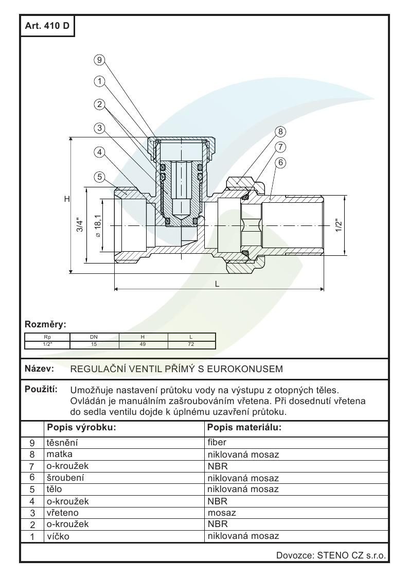 Regulacni Ventil Primi S Eurokonusem 1 2 X3 4 Aquatopshop Voda